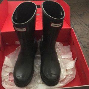 Hunter Original EUC short gloss Olive Rain Boots 7